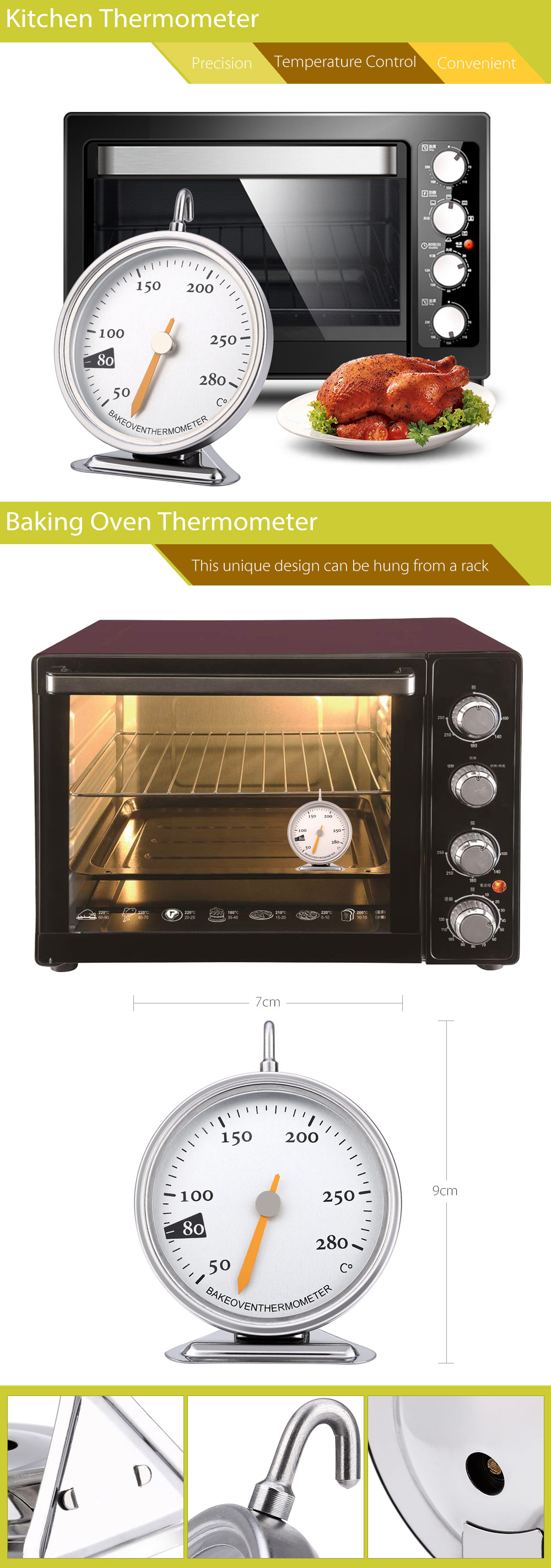 Stainless Steel Mechanical Baking Oven Thermometer Bakeware 50 - 280 Degree Celsius
