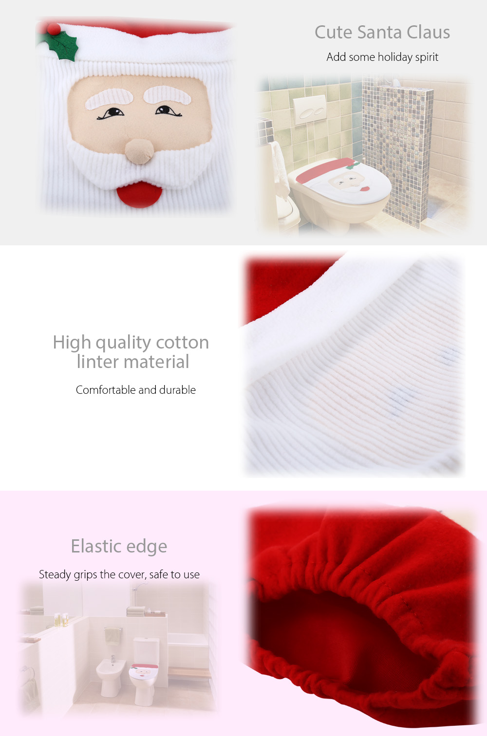 Santa Claus Toilet Seat Cover Bathroom Accessory for Christmas Decoration