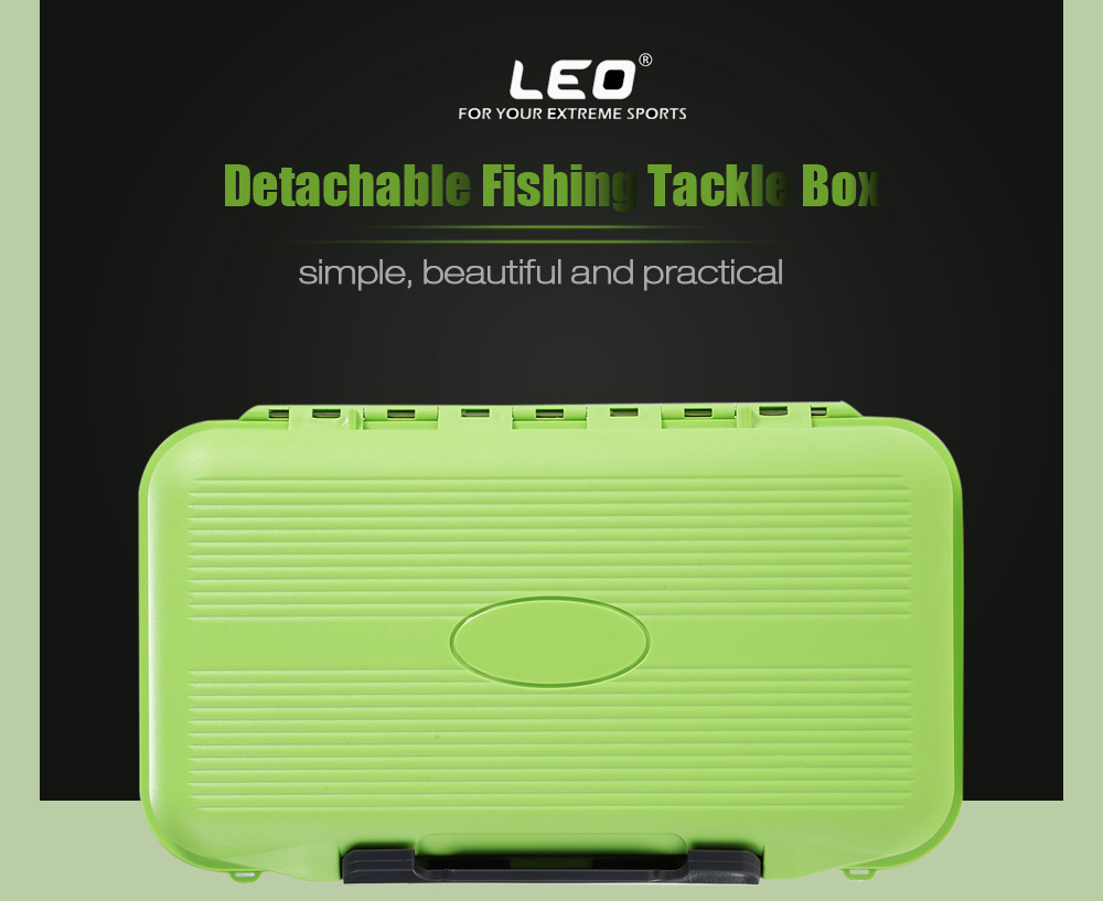 LEO Water Resistant Fishing Tackle Box Fish Lure Bait Hook Storage Case with Compartment