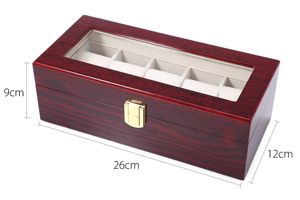 5 Grids Wooden Watch Display Box Jewelry Storage Organizer