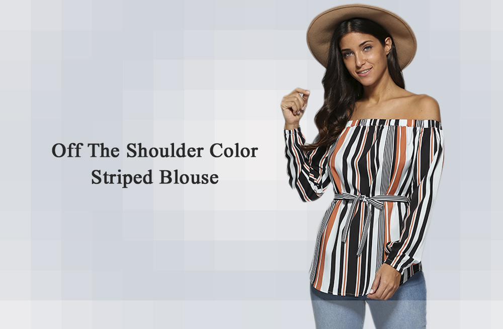 Trendy Off The Shoulder Striped Sash Waist Women Blouse