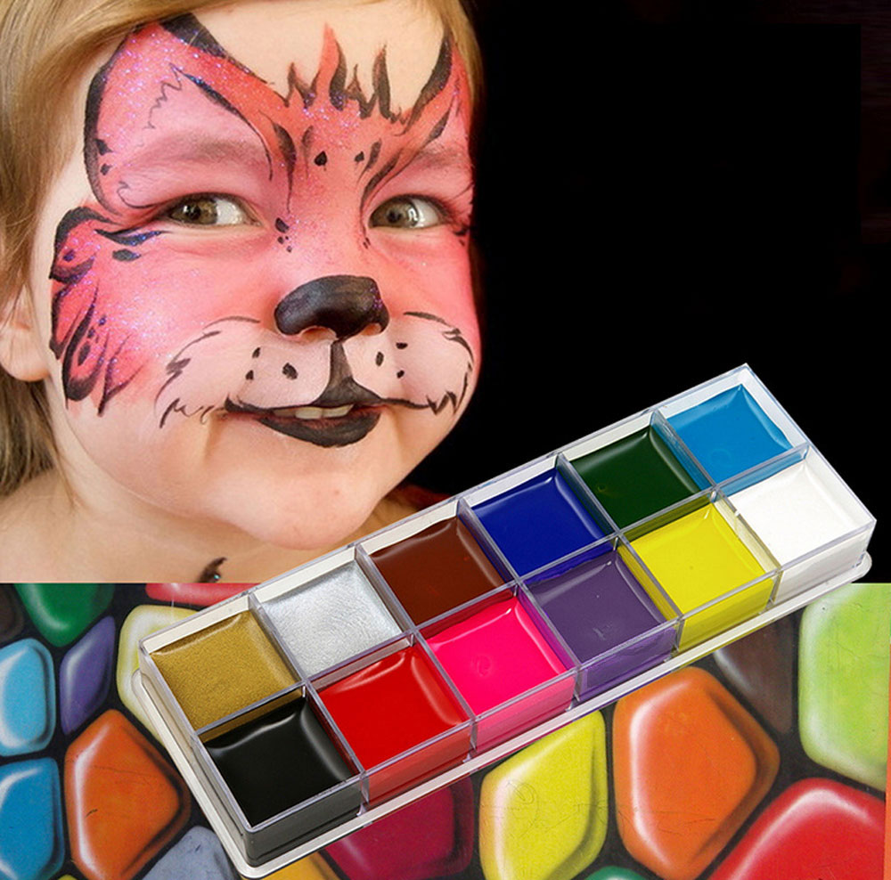 12 Color Fashion Flash Tattoo Non-toxic Halloween Crayon Party Face Paint Body Art Painting Oil