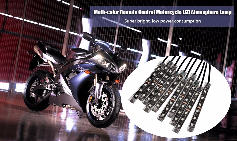 8pcs Multi-color Remote Control Start Motorcycle LED Atmosphere Lamp Flexible Strip Glow Light