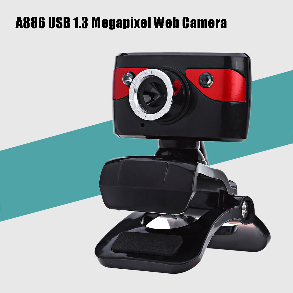A886 Desktop USB 1.3M Website Camera with Built-in Microphone