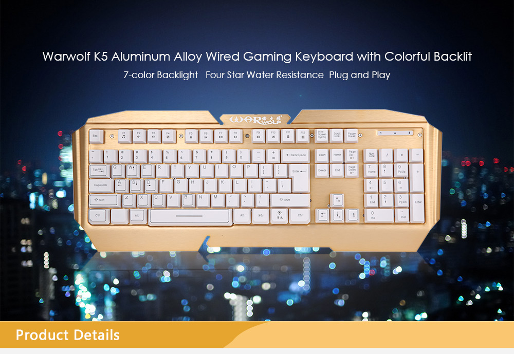 Warwolf K5 Professional USB Wired Gaming Keyboard with Backlight
