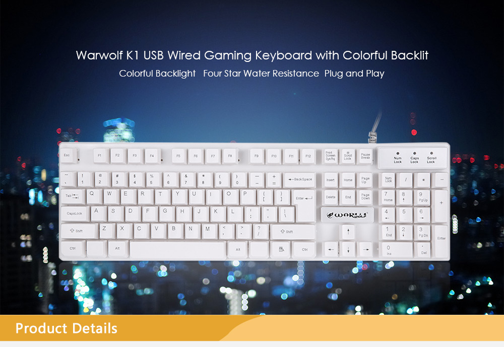 Warwolf K1 Professional USB Wired Optical Gaming Keyboard with Backlight