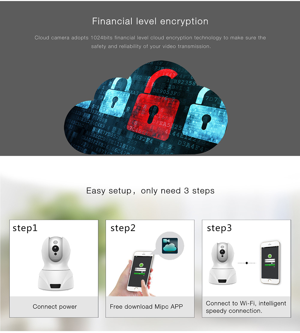 826 3D Intelligent IP Camera 1.0MP HD Cloud Noise Reduction Remote Control Night Vision Encryption