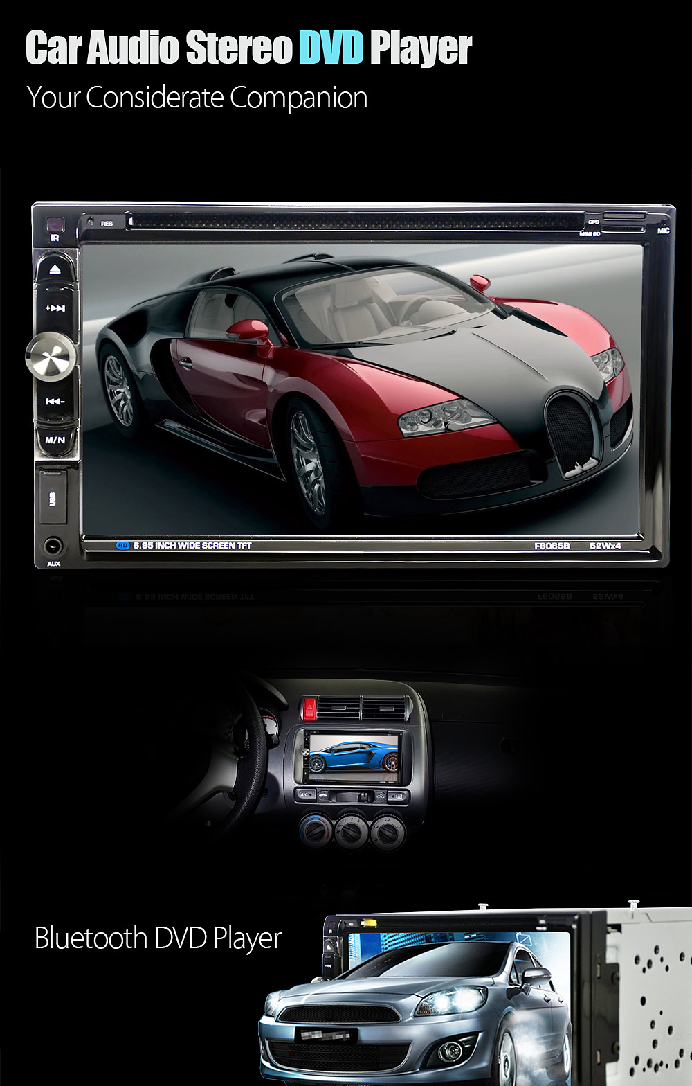 F6065B 6.95 inch Car Audio Stereo DVD Player 12V Auto Video Remote Control Camera