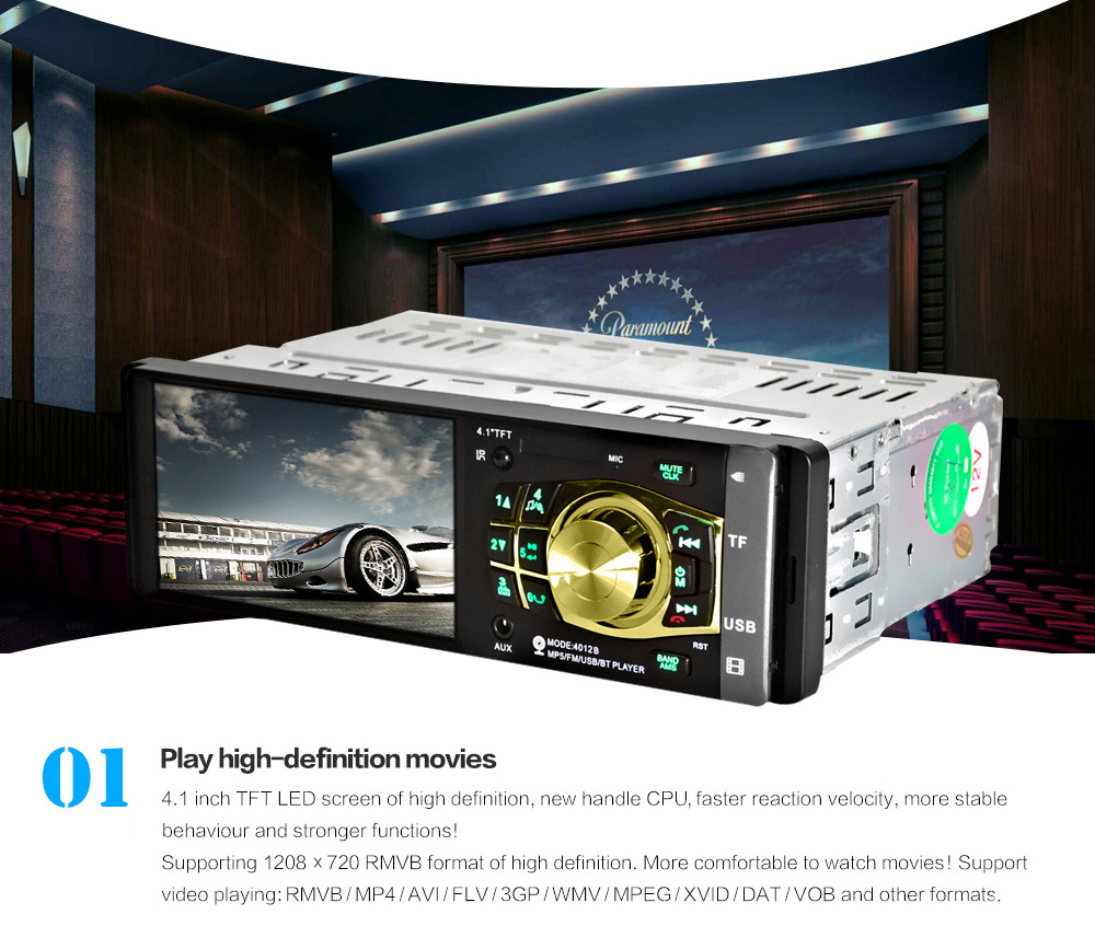 4032B 4.1 inch Vehicle-mounted MP5 Bluetooth Car Radio Multimedia Player Audio Video with Camera Remote Control