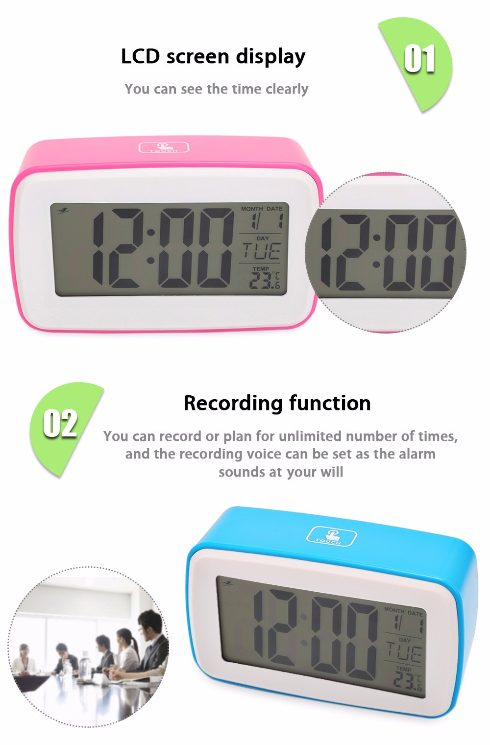 8 in 1 Smart Touch Sensor Luminous LCD Screen Digital Snooze Clock Personalized Recording Alarm with Date Temperature Display
