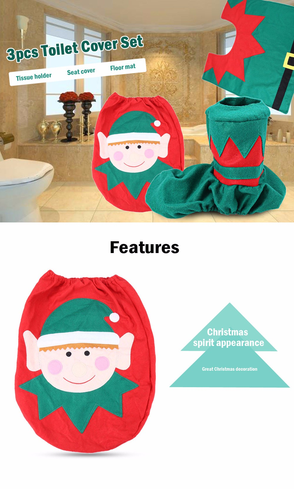 Christmas Spirit Toilet Set Seat Cover Rug Bathroom Decoration