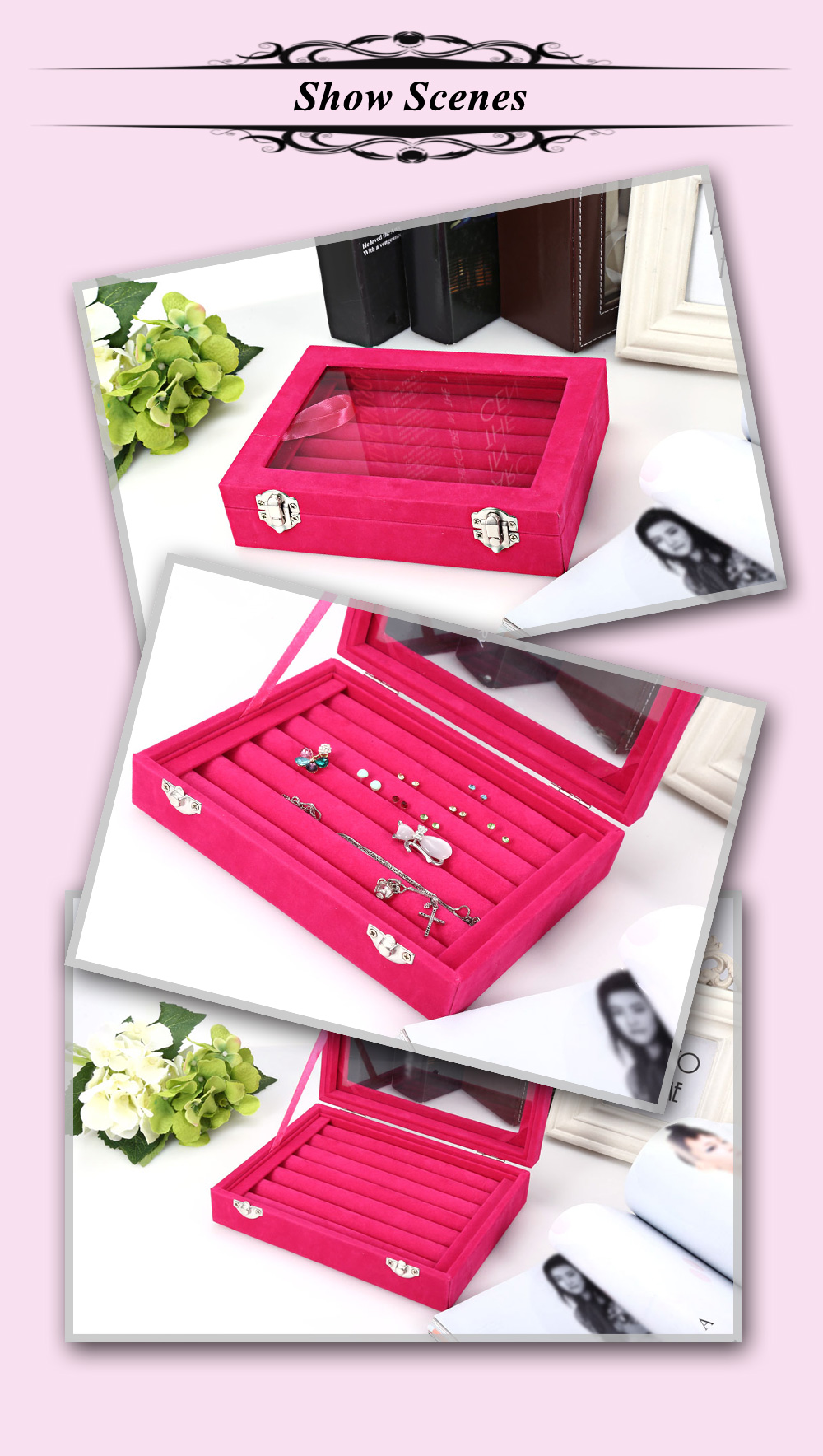 Lint Jewelry Watch Display Box Collection Glass Cover Storage Case Organizer