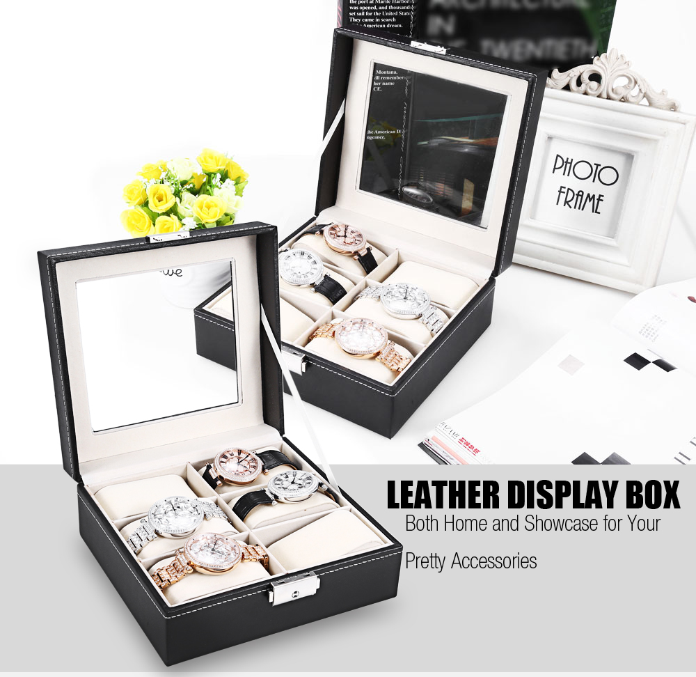 6 Grids Leather Glasses Watch Display Box Collection Glass Cover Organizer Storage Case