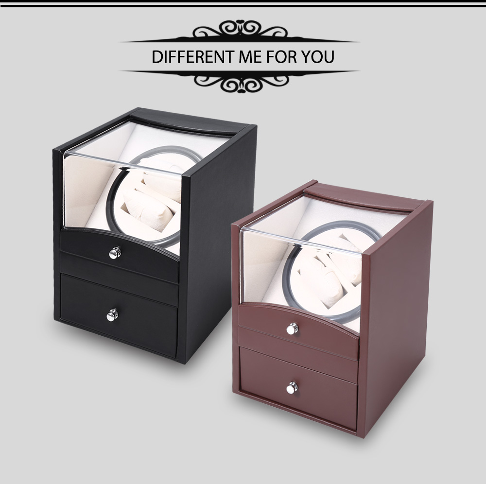 Auto Watch Winder Cuboid Shape Wristwatch Display Box Jewelry Storage Case with Drawer