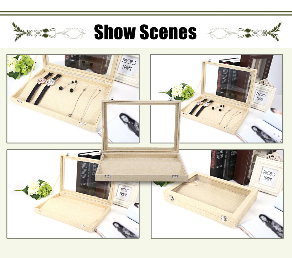 Linen Jewelry Watch Display Box Collection Glass Cover Storage Case with 20 Clasps