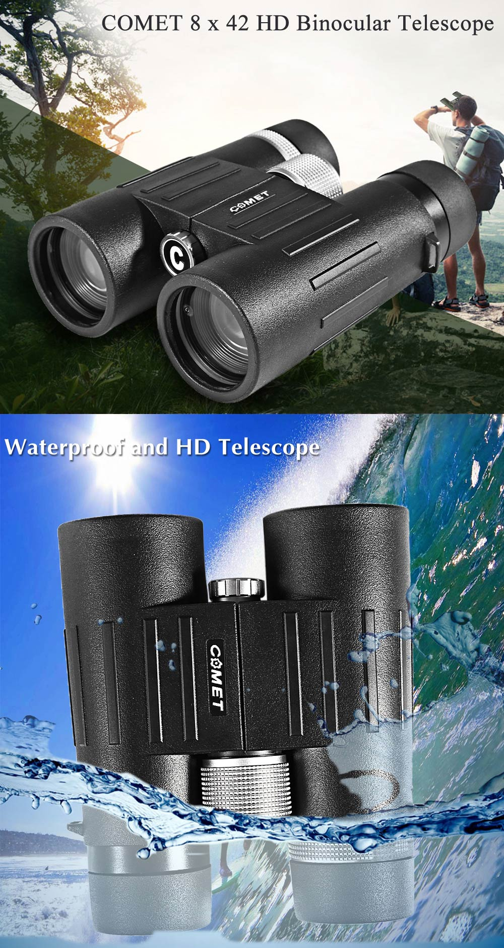 COMET AX18 - 08 x 42 HD Waterproof Binocular Telescope with Eye Cover for Tourism