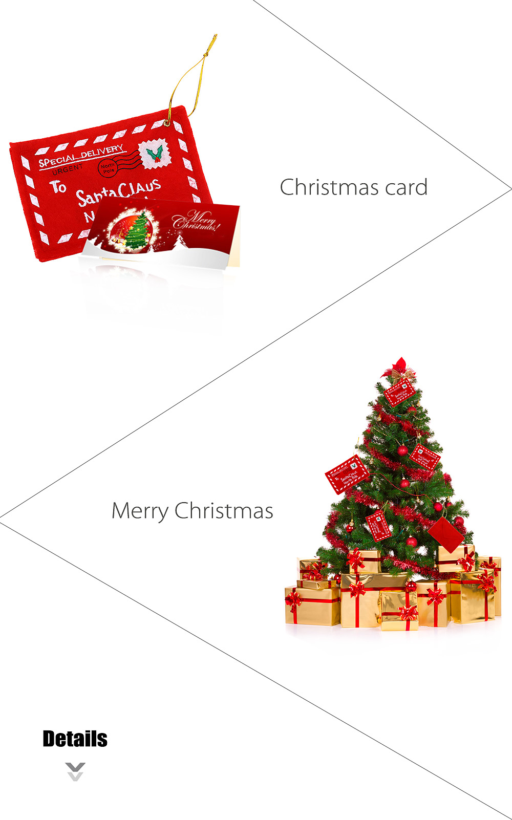 Christmas Envelop Greeting Card Candy Bag Tree Hanging Decor
