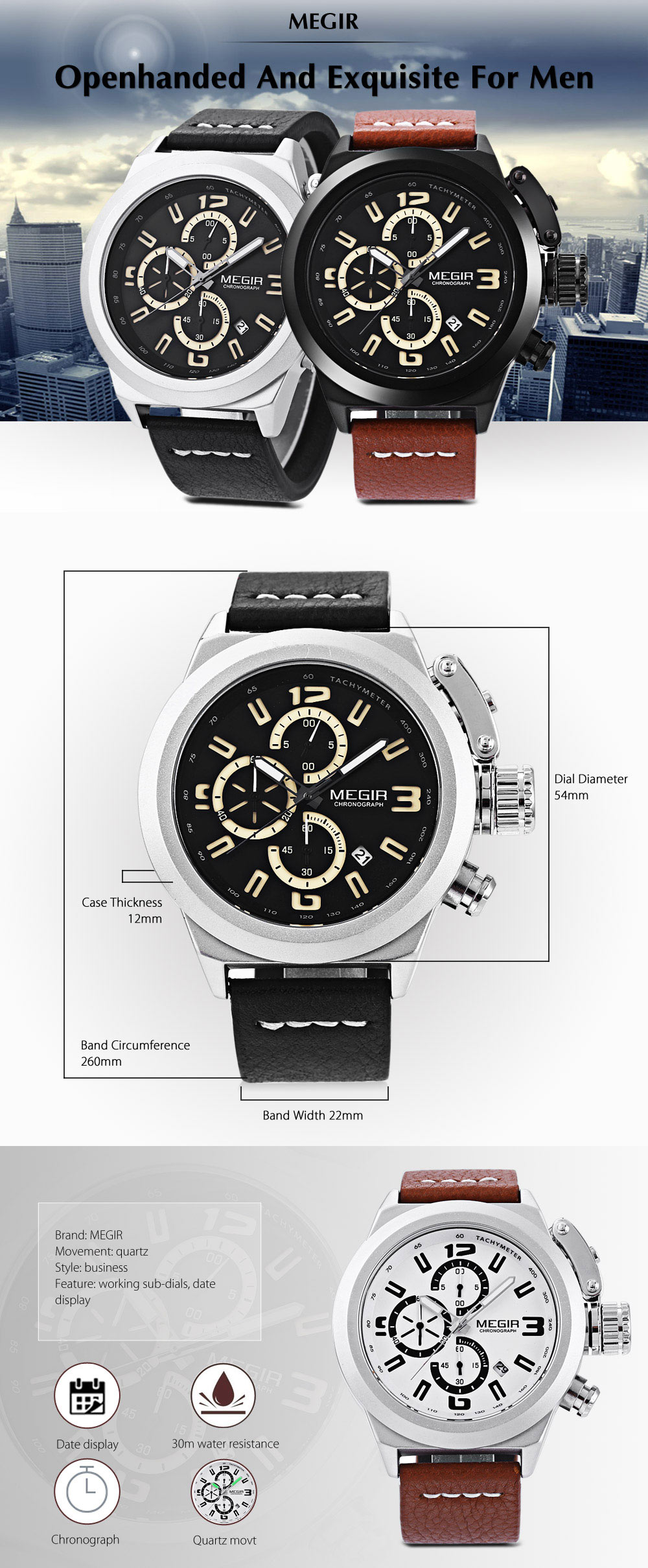 MEGIR 2029 Men Quartz Watch Working Sub-dial Chronograph Date Display Wristwatch