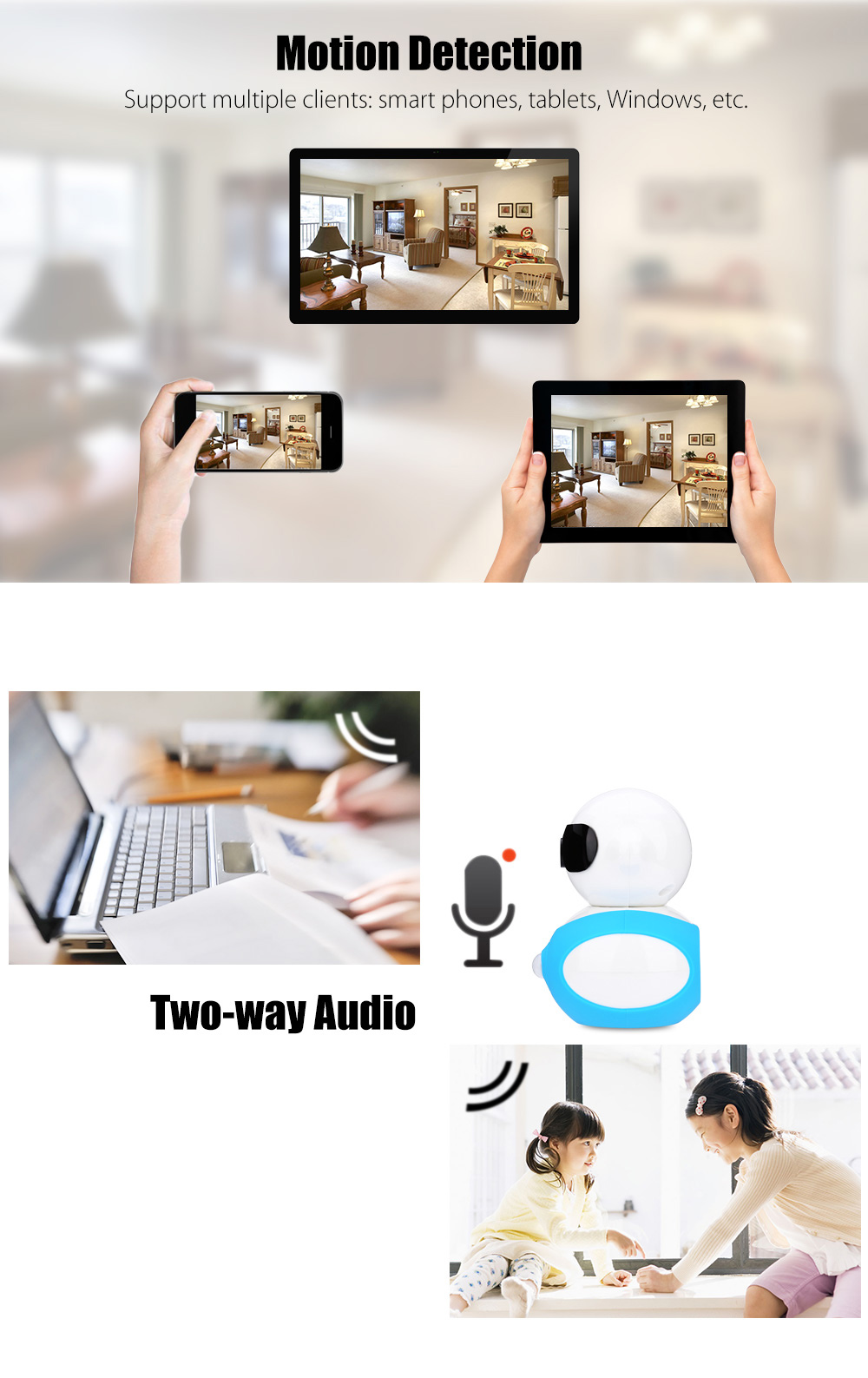 A8 Robot Type Wireless 960P 6pcs IR LED Home Security IP Camera