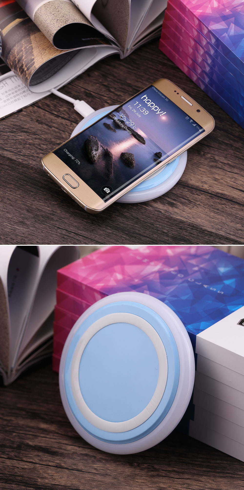 Shining Round Shape Qi Wireless Charging Station
