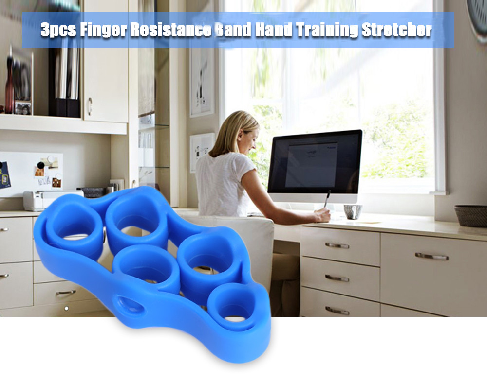 3pcs Finger Resistance Band Wrist Exercise Strength Grip Hand Stretcher Trainer