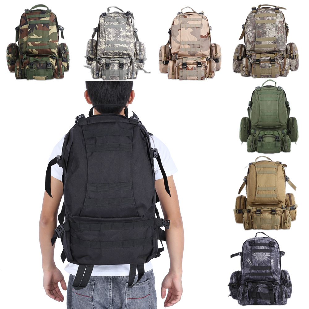 50L Molle Outdoor Military Tactical Bag Camping Hiking Trekking Backpack