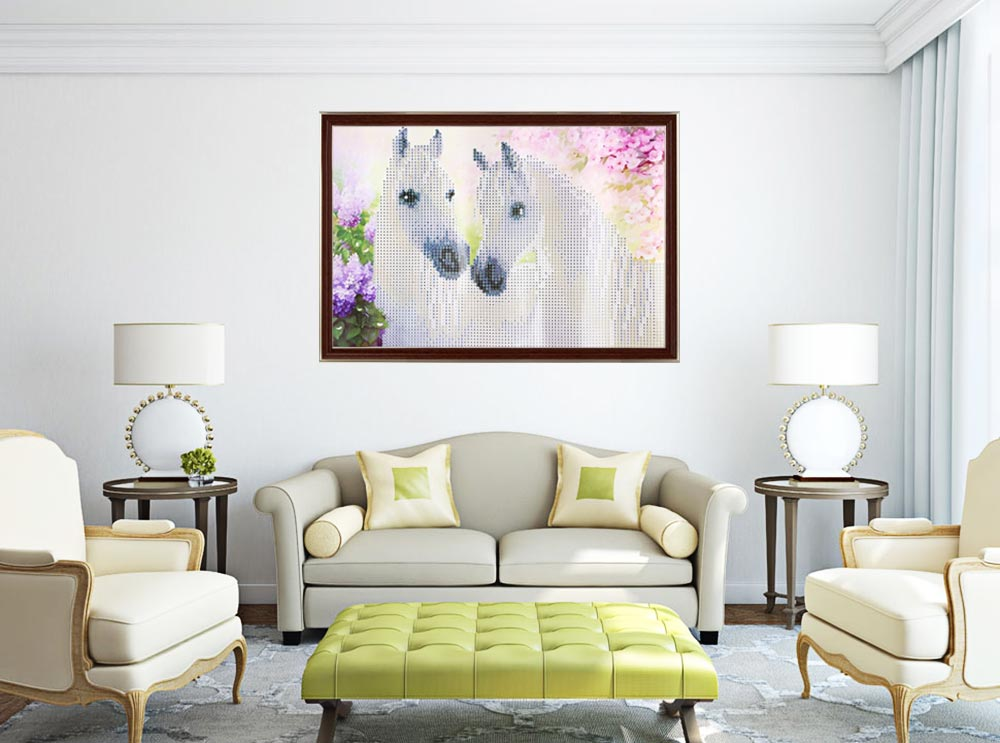 35 x 25cm Two White Horse 5D Full Drilled Square Needlework DIY Diamond Painting Cross Stitch Tool