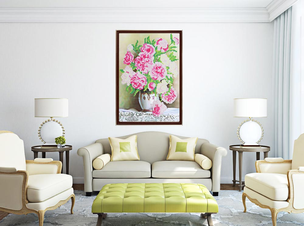 38 x 28cm Peony Floral 5D Full Drilled Square Needlework DIY Diamond Painting Cross Stitch Tool