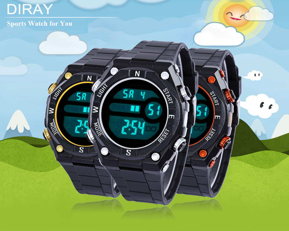 DIRAY DR - 307G Children LED Digital Watch Date Day Display 50m Water Resistance Sports Wristwatch