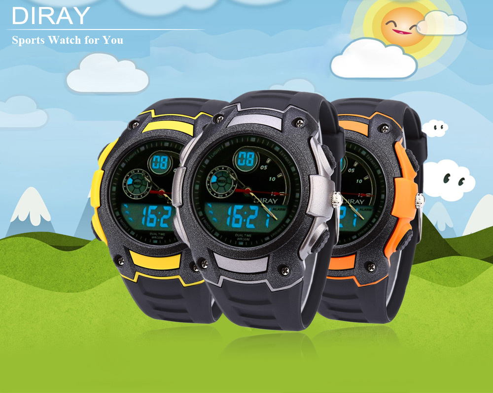 DIRAY DR - 327AD Children Dual Movt Watch Date Day Display 30m Water Resistance Sports Wristwatch