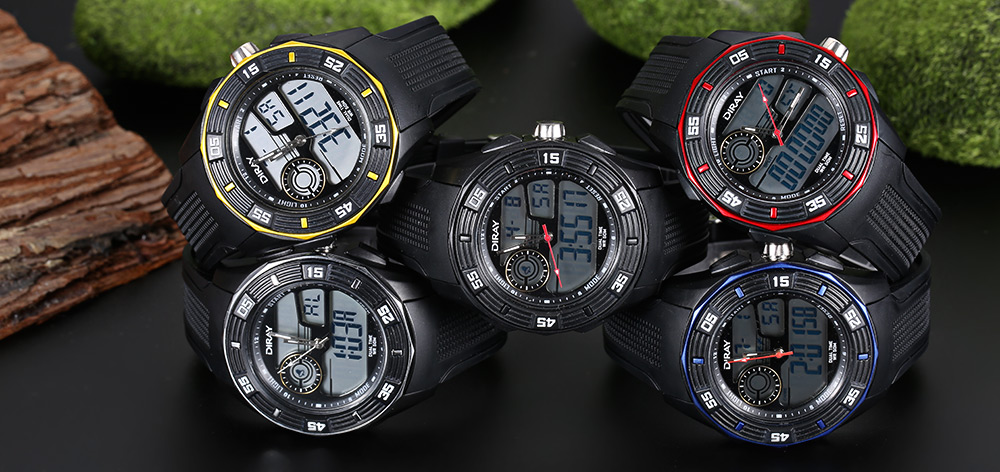 DIRAY DR - 301AD Children Dual Movt Watch Date Day Display 50m Water Resistance Sports Wristwatch