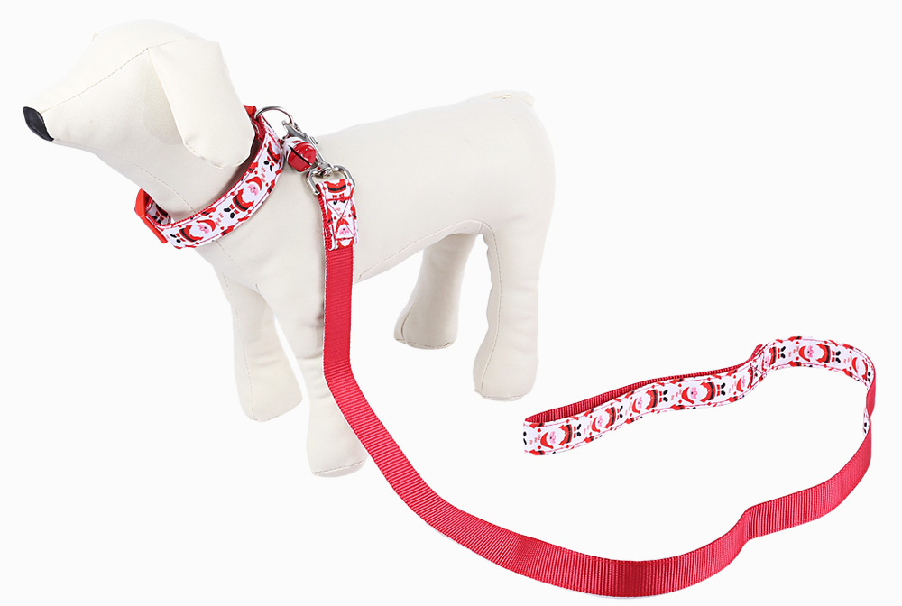 Pet Dog Christmas Leash Santa Claus Style Collar with Tinkling Bell