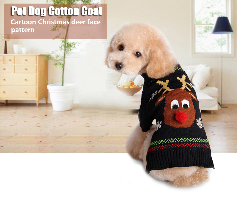 Cartoon Christmas Red Nose Deer Pattern Small Medium Pet Dog Cotton Coat