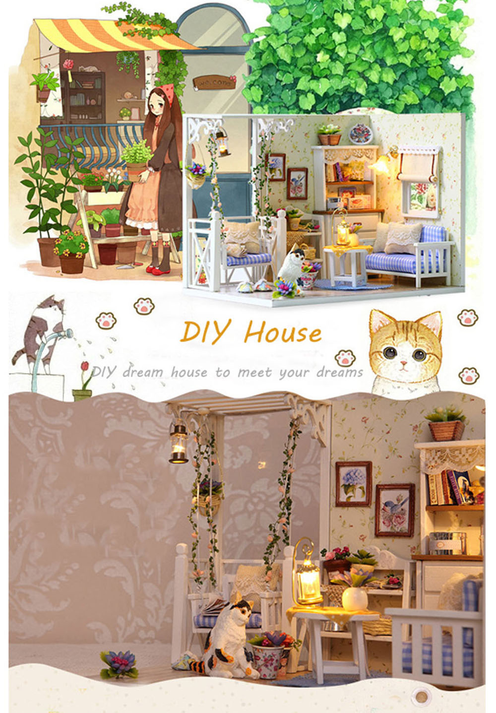 H - 013 DIY Wooden Doll House Furniture Handcraft Kit with Cover LED Light - Cat Diary