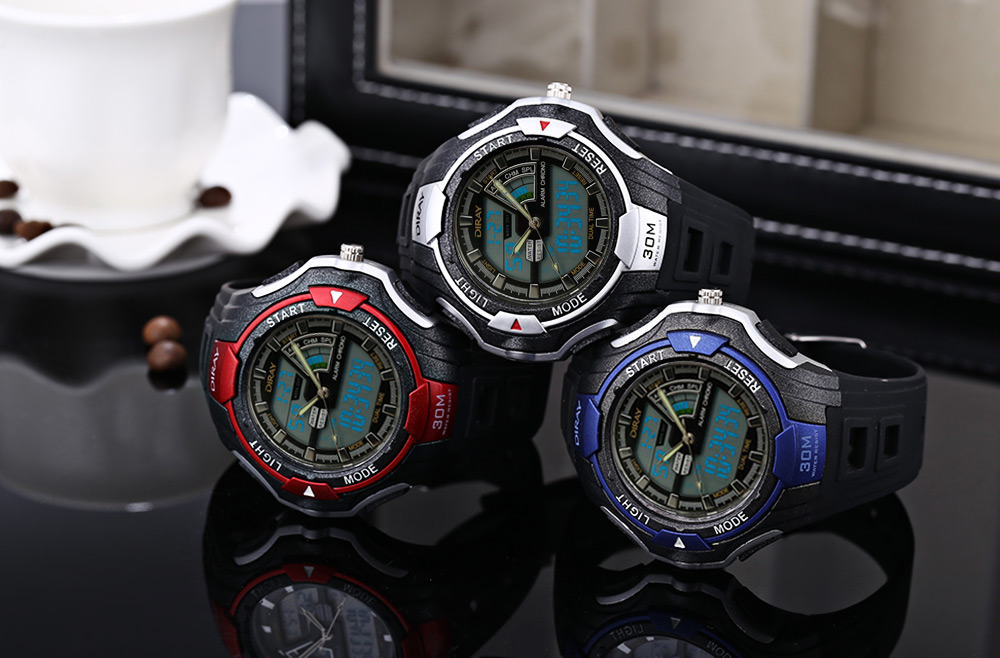 DIRAY DR - 320AD Children Dual Movt Watch Date Day Display 30m Water Resistance Sports Wristwatch