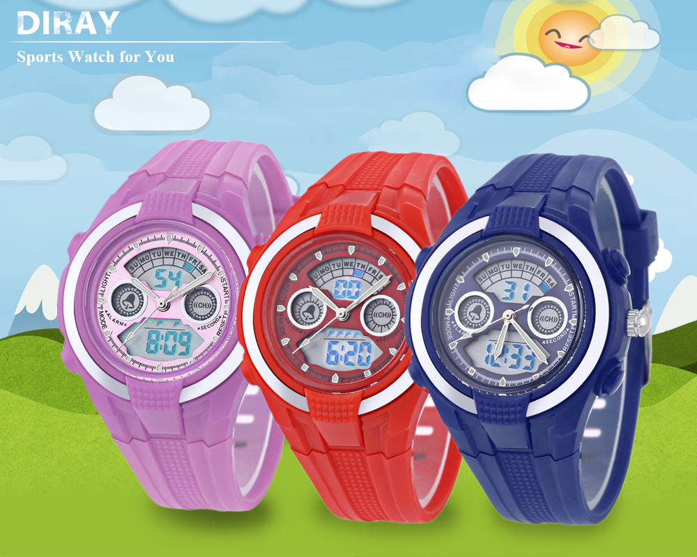 DIRAY DR - 211AD Children Dual Movt Watch Date Day Display 30m Water Resistance Sports Wristwatch