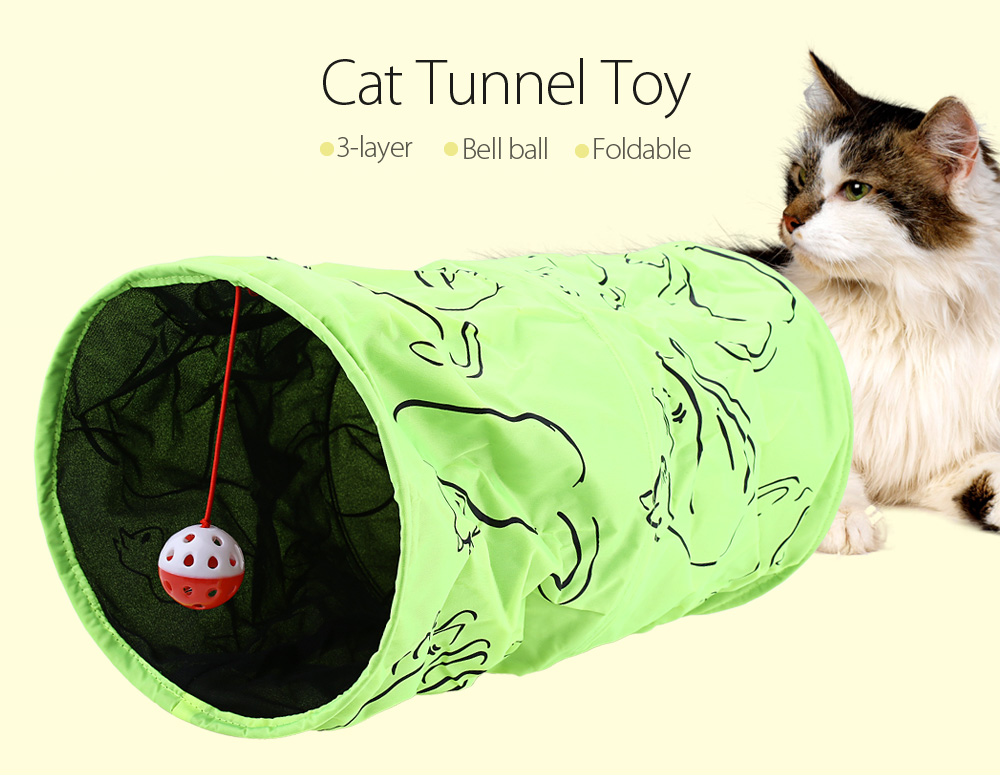Folding Cat Crinkly Kitten Tunnel Toy with Bell Ball