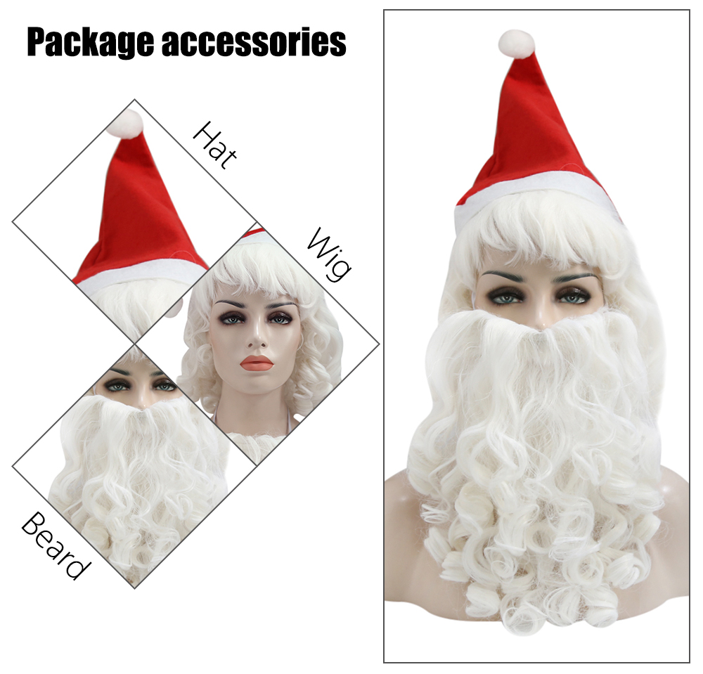 Halco Holidays Complete Deluxe Santa Claus Christmas Big Wavy Wig Beard Hat Kit Costume Accessory