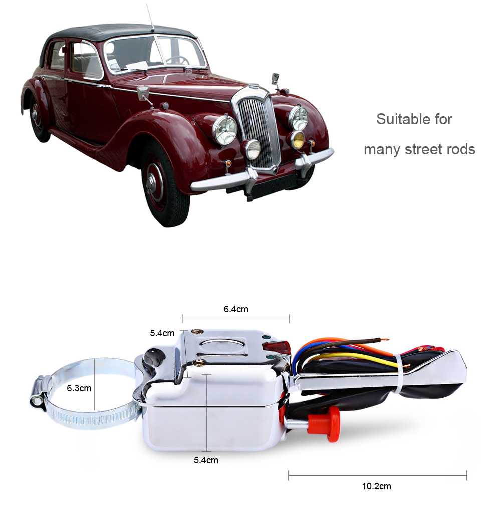 Universal 12V Street Hot Rod Turn Signal Chrome Switch for Ford / Buick