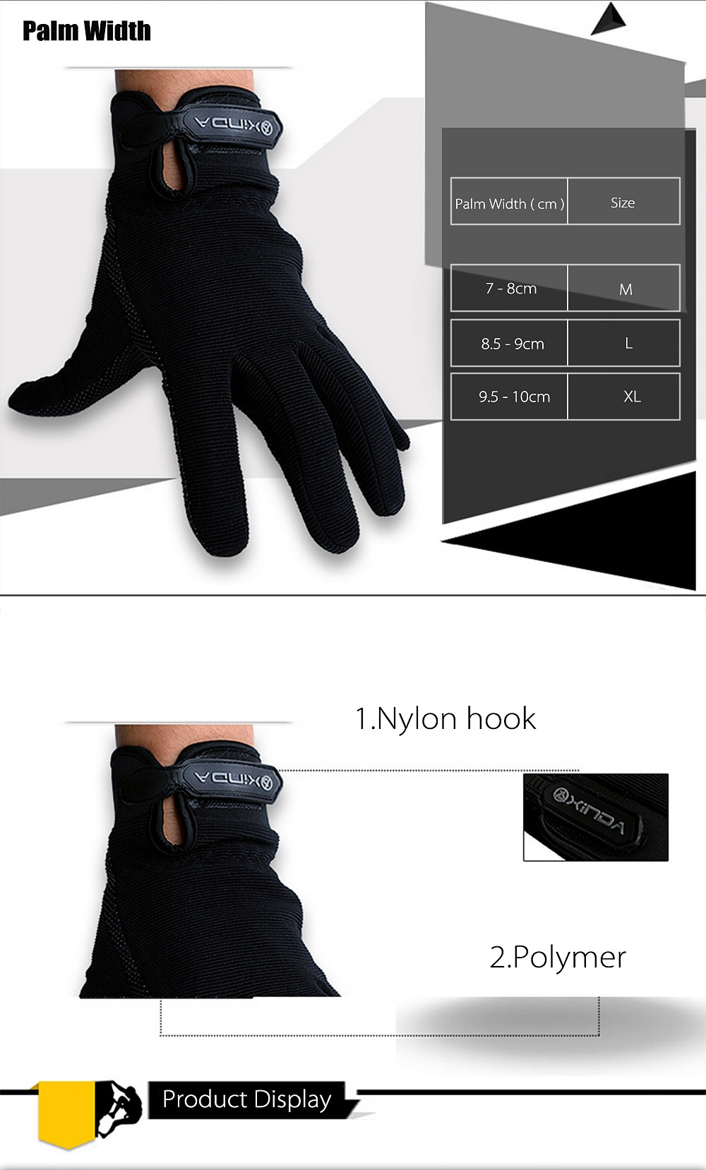 XINDA Paired Outdoor Climbing Cycling Anti-slip Tactical Full Finger Gloves