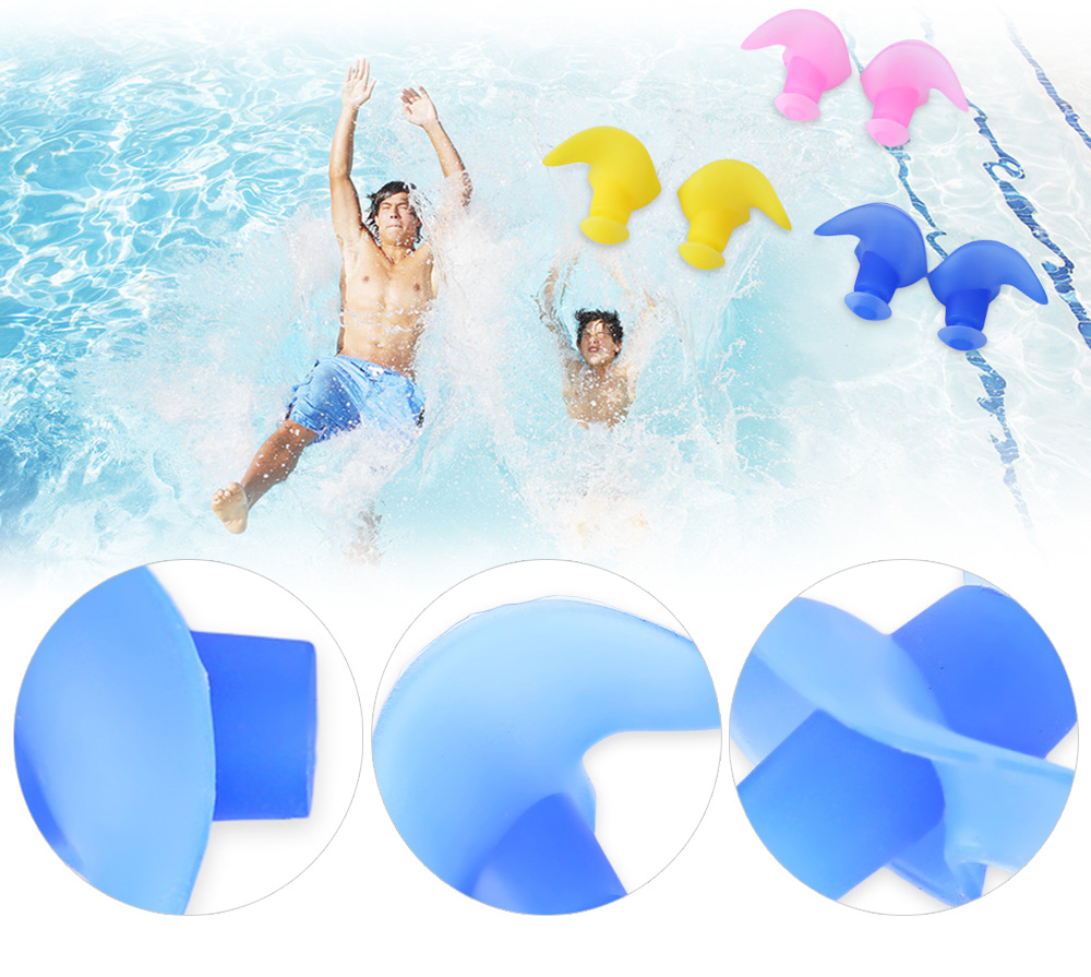 CONQUEST 2pcs Soft Silicone Swimming Earplug for Adult Children