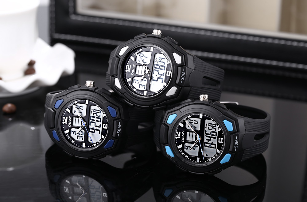 DIRAY DR - 302AD Kids Dual Movt Watch Calendar LED Display Chronograph Alarm 5ATM Wristwatch