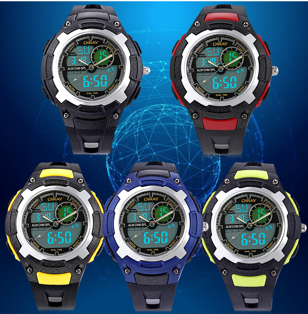 DIRAY DR - 323AD Kids Dual Movt Watch Calendar LED Display Chronograph Alarm 3ATM Wristwatch