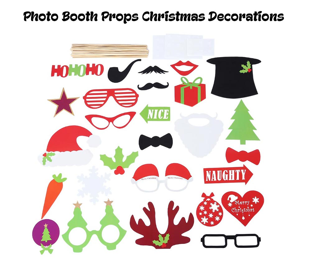 27pcs Photo Booth Props Christmas Decorations for Party Birthday Halloween Wedding