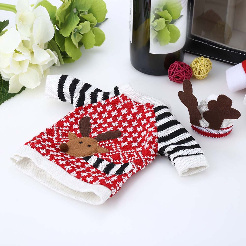 Christmas Wine Bottle Cover Decorative Dress Winter Holiday Knit Sweater