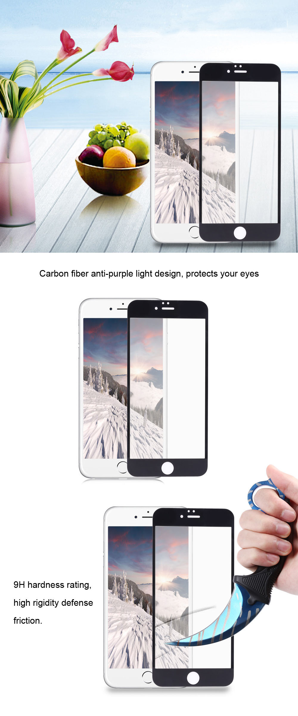 9H 3D Tempered Glass Anti-blue Purple Light Shatterproof Screen Protective Film for iPhone 6
