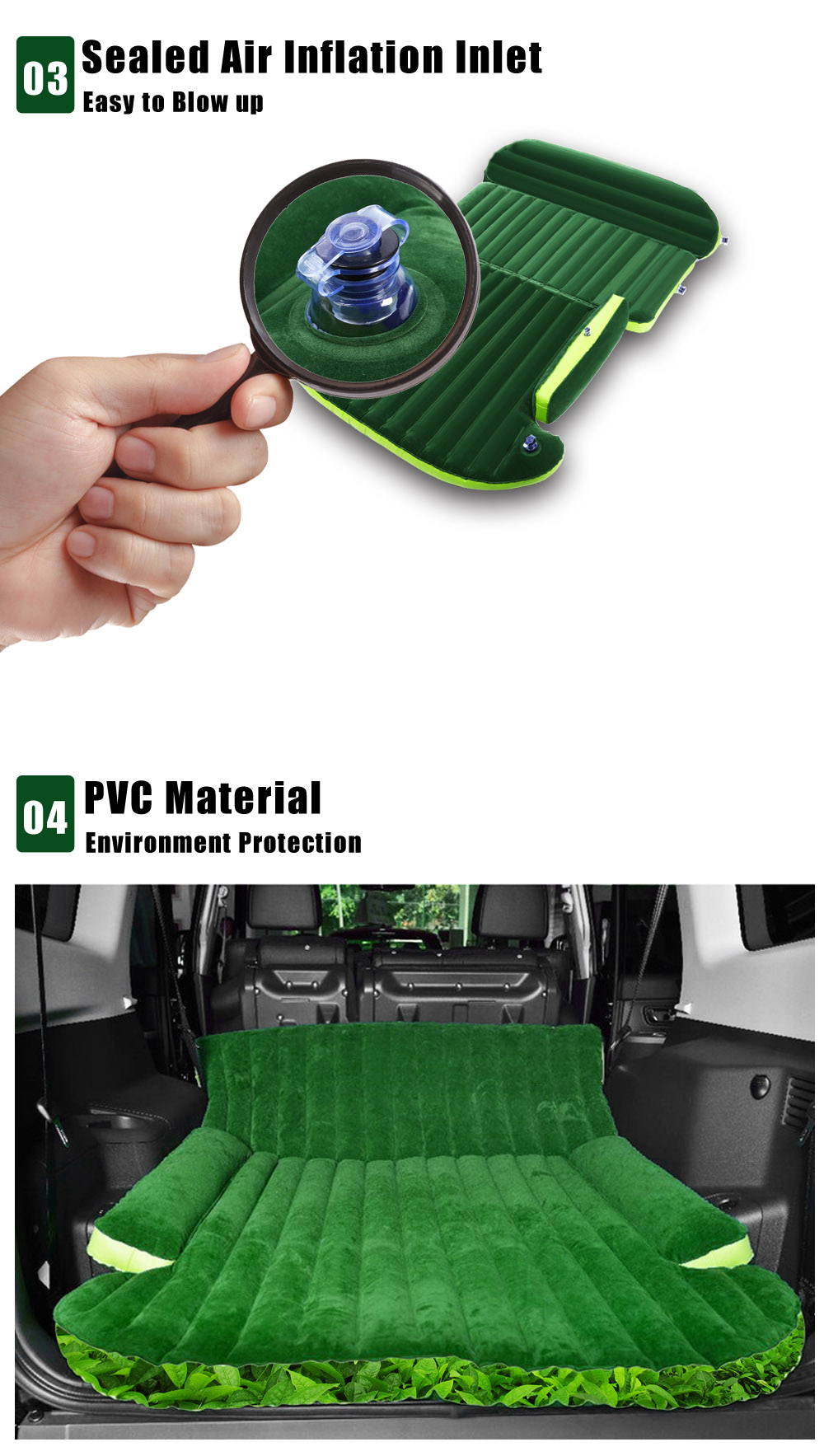 Drive Travel Universal Automotive Air Inflation Bed Wave Design Environmental Material Comfortable Airbed for SUV