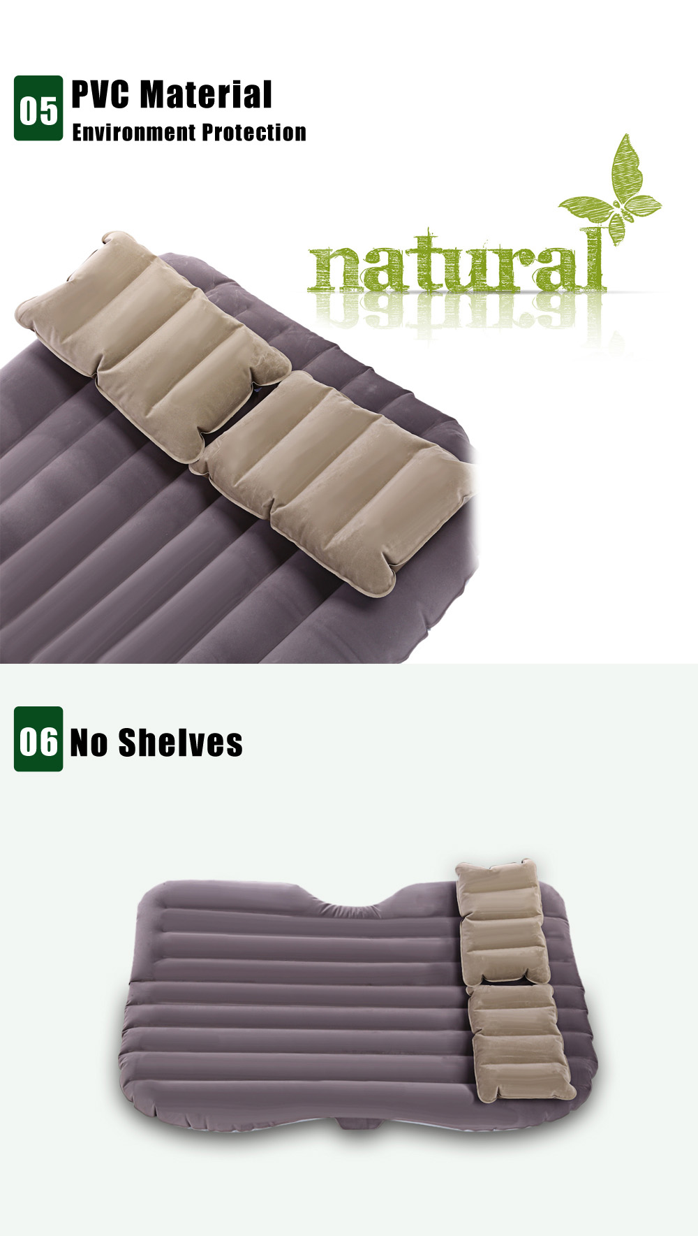 Drive Travel Universal Car Air Inflation Bed Comfortable Airbed Environmental Material Wave Design