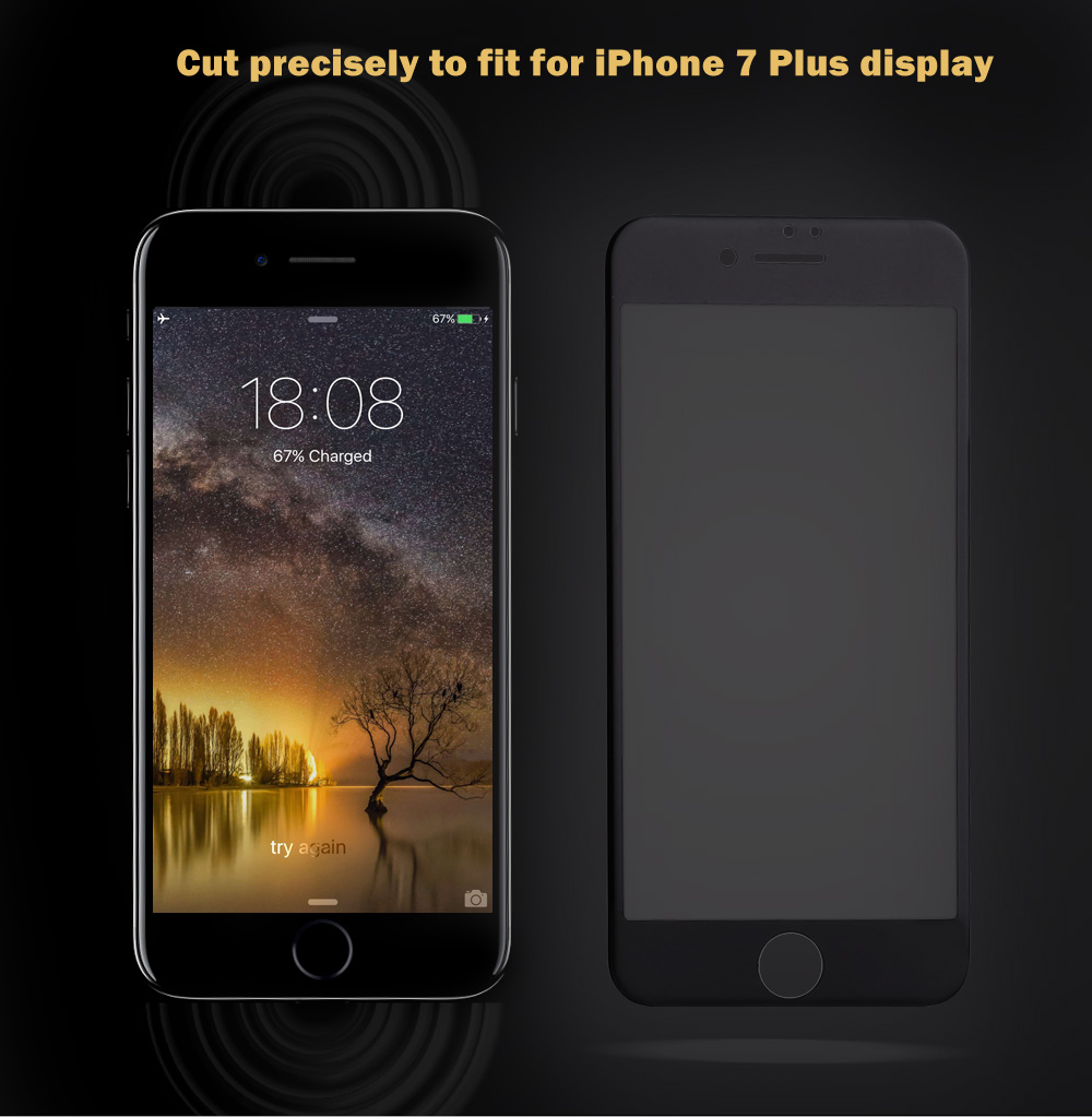 9H 3D Tempered Glass Carbon Fiber Anti-purple Light Shatterproof Screen Protective Film for iPhone 7 Plus 5.5 inch 0.26mm