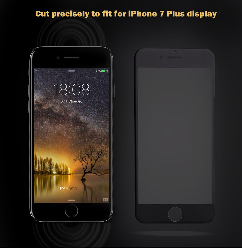 9H 3D Tempered Glass Carbon Fiber Shatterproof Screen Protective Film for iPhone 7 Plus 5.5 inch 0.26mm